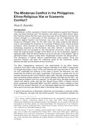 mindanao conflict in the philippines ethno religious war or
