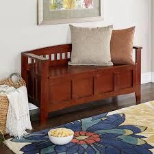linon home decor storage bench chest with short split seat walnut