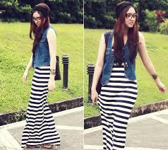 aileen belmonte new yorker striped maxi dress thrifted denim