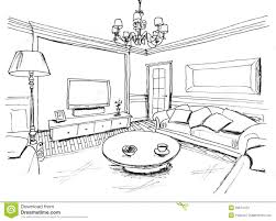 sketch room graphical sketch of an interior living room stock images image