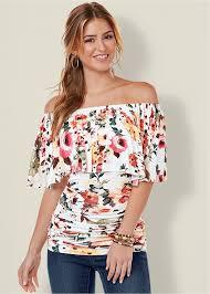 shoulder tops floral the shoulder top in floral multi venus