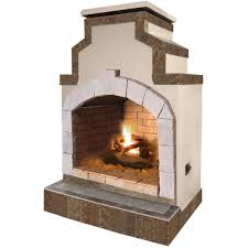 cal flame 48 in propane gas outdoor fireplace in porcelain tile
