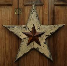 Barn Star Kitchen Decor by Primitive Distressed Wood 15 Inch Rusty Tin Barn Star Hanging