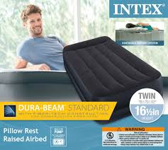 Twin Inflatable Bed by Intex Twin Pillow Rest Fiber Tech Airbed Air Mattress Bed Built In