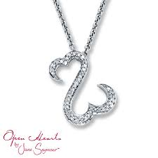 kay jewelers charmed memories kay open hearts necklace 1 8 ct tw diamonds sterling silver