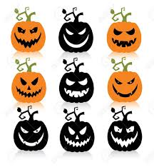 happy halloween pumpkin clipart set of a scary halloween pumpkin royalty free cliparts vectors