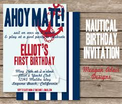 nautical birthday invitation invitation card printable