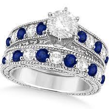 sapphire wedding rings images Antique diamond blue sapphire bridal ring set 14k white gold jpg