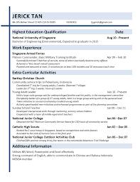 Resume Example Singapore by Resume Draft Resume Template