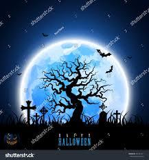 halloween moon tree tombstone graveyard pumpkin stock vector