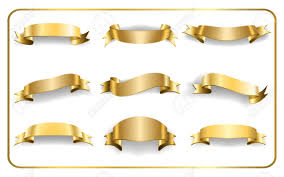 gold ribbons gold ribbons set satin blank banners collection design label