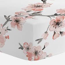 Sheets For Mini Crib Light Coral Cherry Blossom Mini Crib Sheet Carousel Designs