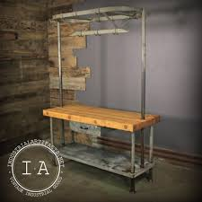 vintage industrial maple butcher block kitchen island w knife and vintage industrial maple butcher block kitchen island w knife and pot rack