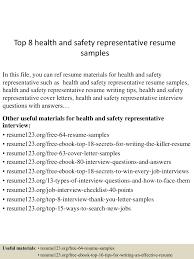 Sample Insurance Sales Representative Resume Top8healthandsafetyrepresentativeresumesamples 150527142624 Lva1 App6892 Thumbnail 4 Jpg Cb U003d1432737072