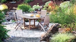 Backyard Flagstone Landscaping Ideas With Stone Sunset
