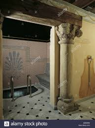 roman bath miramonti hotel cogne valle d aosta italy stock photo