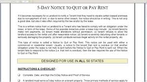 5 day notice to quit or pay rent landlord to tenant youtube