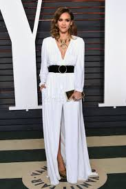 jessica alba white long sleeve oscars 2016 slit evening formal