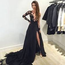formal gowns black sleeve prom dresses scoop neck tulle formal