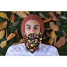 beard ornaments decorates his beard with festive ornaments to celebrate the
