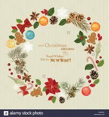 christmas wreath with christmas tree pine cones christmas stock