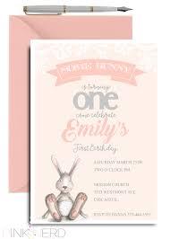 rabbit invitation some bunny 1st birthday invitation bunny birthday invitation