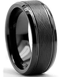 Mens Gunmetal Wedding Rings by King Will Basic 8mm Black High Polish Matte Finish Tungsten Men U0027s