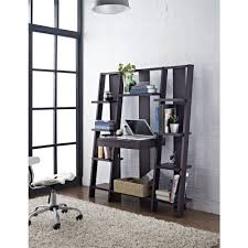 Ladder Shelving Unit Dark Brown Wood Bookcases Home Office Furniture The Home Depot