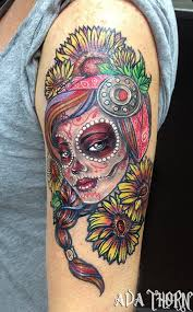 roller derby sunflower sugar skull tattoo by avathorntattoos
