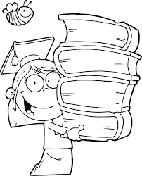 Coloring Pages Of Graduation Girl Holding Books Coloring Point Books For Coloring