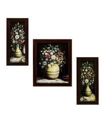 indianara flower pot painting set of 3 with wooden frame buy