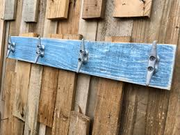nautical boat cleat coat rack distressed blue towel rack book