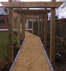 Pergola Post Design by Oak Pergola With Wire Planting Supports David Greaves Landscape