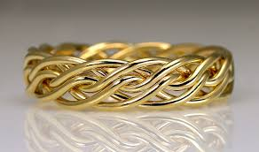 gold wedding bands for six strand open weave braided wedding rings by artist todd alan