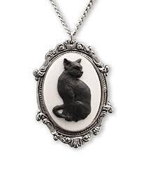 black cat pendant necklace images Black cat cameo set in silver finish pewter frame jpg