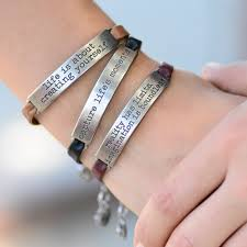 leather bracelet jewelry images Inspirational message leather bracelets stackable bracelets jpg
