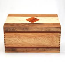 handcrafted wood handmade wooden cremation urn in walnut with maple bubinga