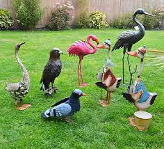 metal standing bird figures colourful garden patio indoor
