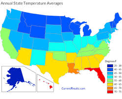 us weather map humidity average annual temperatures by usa state current results