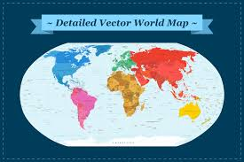 Detailed World Map Comprehensive Vector World Map Illustrations Creative Market