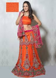 pink orange bridal lehenga with different look design u2013 designers