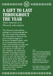 purchase a monocle subscription as a gift this christmas monocle