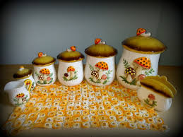 full set sears merry mushroom kitchen canisters vintage 1983 sears
