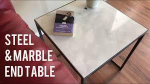Diy Marble Coffee Table by Diy Modern Side Table End Table Marble U0026 Steel Youtube