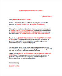 notice period resignation letter sample resignation letter format