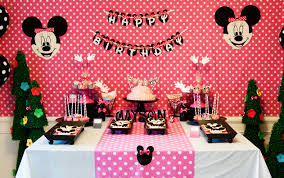 simple birthday decoration at home interior design simple minnie mouse theme party decorations home