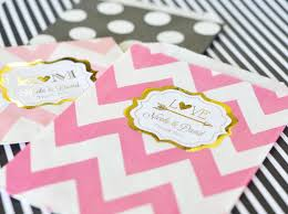 personalized goodie bags metallic foil chevron dots goodie bags set of 12 wedding