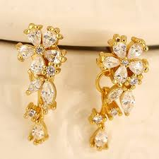 design of earrings sweet gold color diamond decorated flower shape design cuprum stud