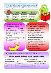 worksheet indefinite pronouns bw
