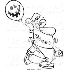 vector of a cartoon frankenstein walking with a halloween